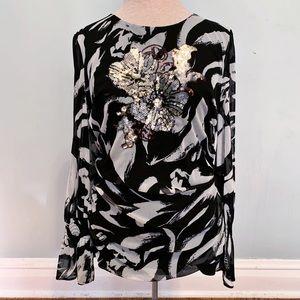 Thalia Sodi Long Sleeve Floral Sequin Blouse Top